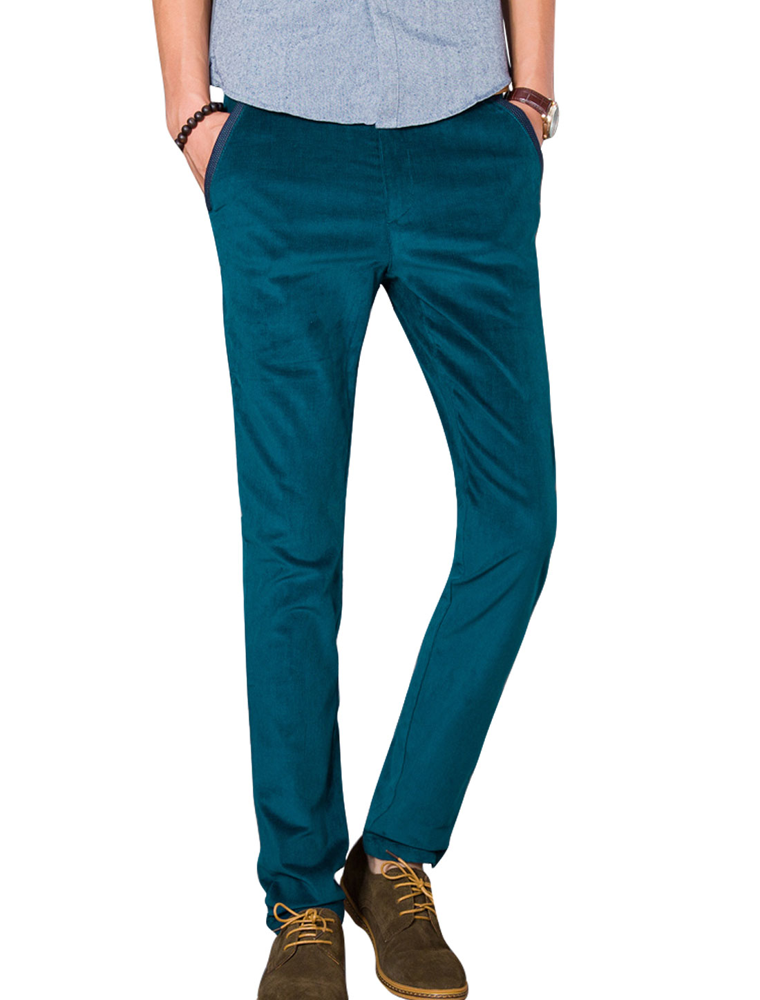 Men Deep Sea Blue Zip Fly Button Closure Belt Loop Front Pockets Casaul Pants W 32