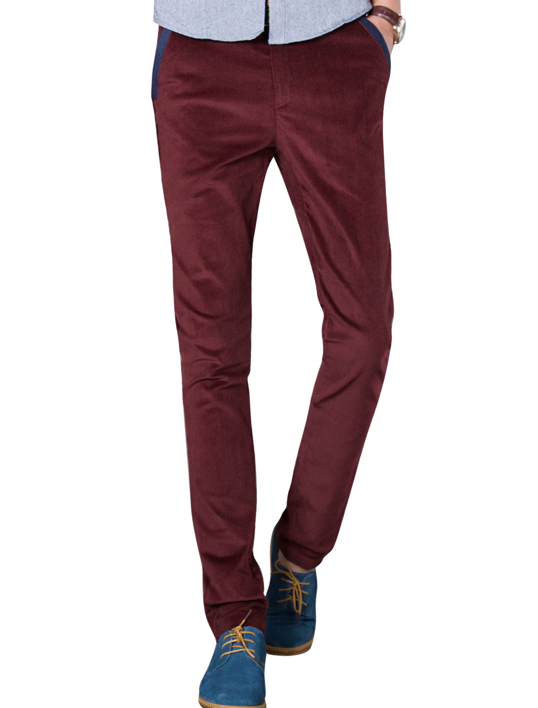 Men Burgundy Zip Up Button Down Belt Loop Front Pockets Casaul Pants W 32