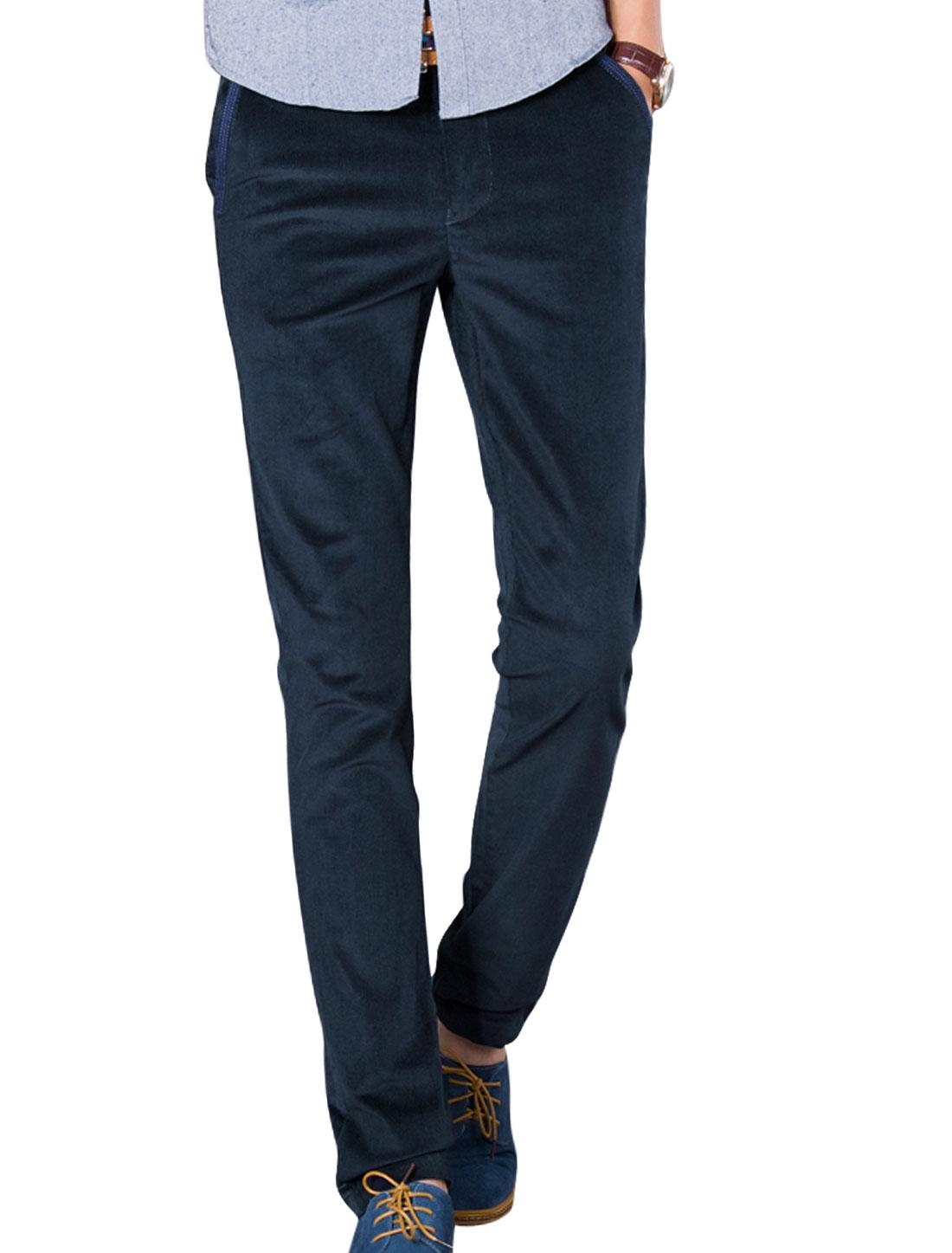Men Navy Blue Zip Down Mid Rise Belt Loop Front Pockets Casaul Pants W 32