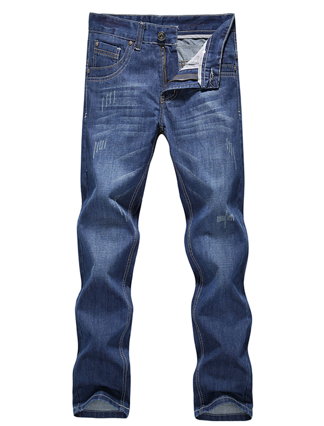 Natural Waist Embroiery Detail Casual Jeans for Men Blue W36