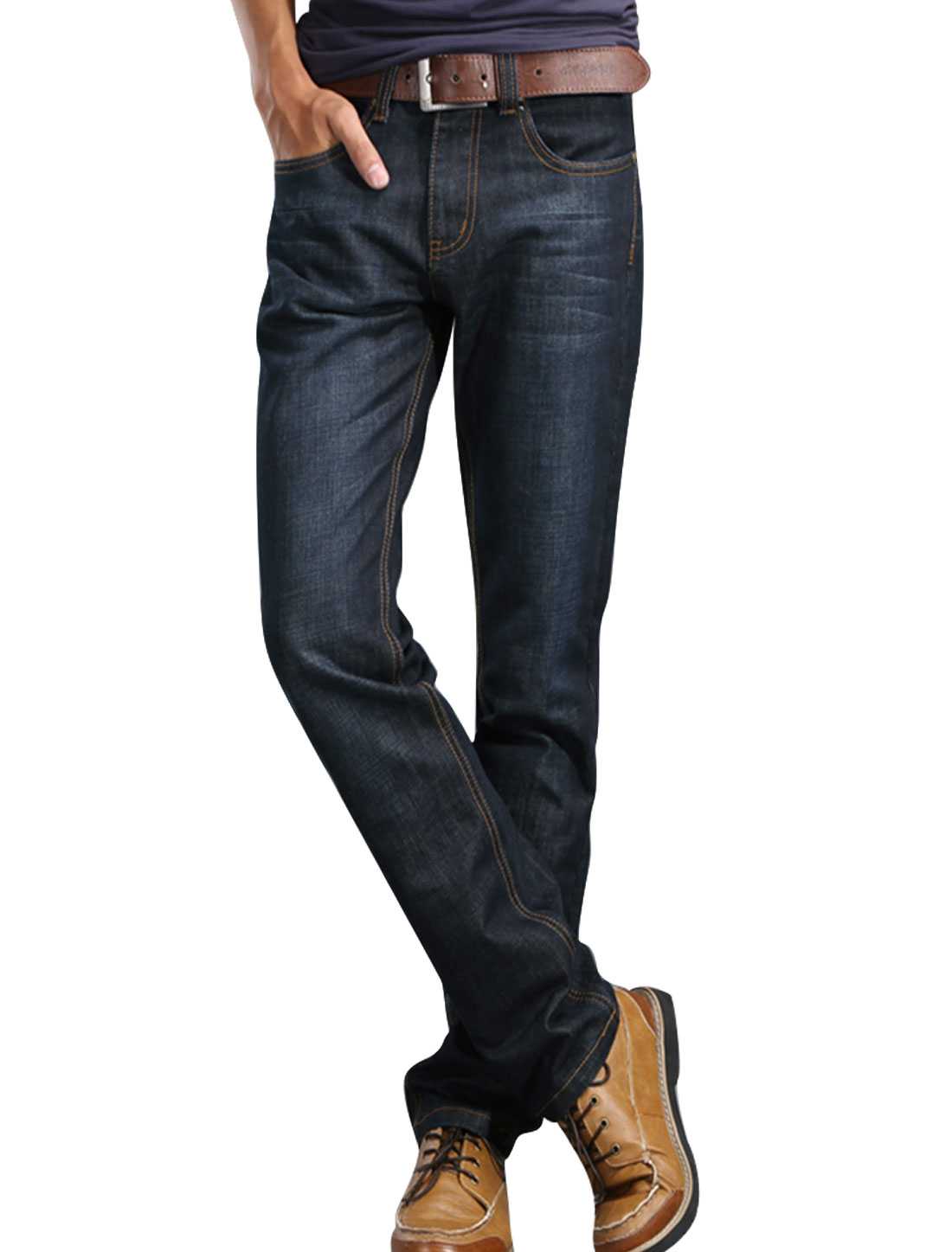Men Black Mid Waist Zip Fly Belt Loop Button Closure Front Pockets Jeans W30