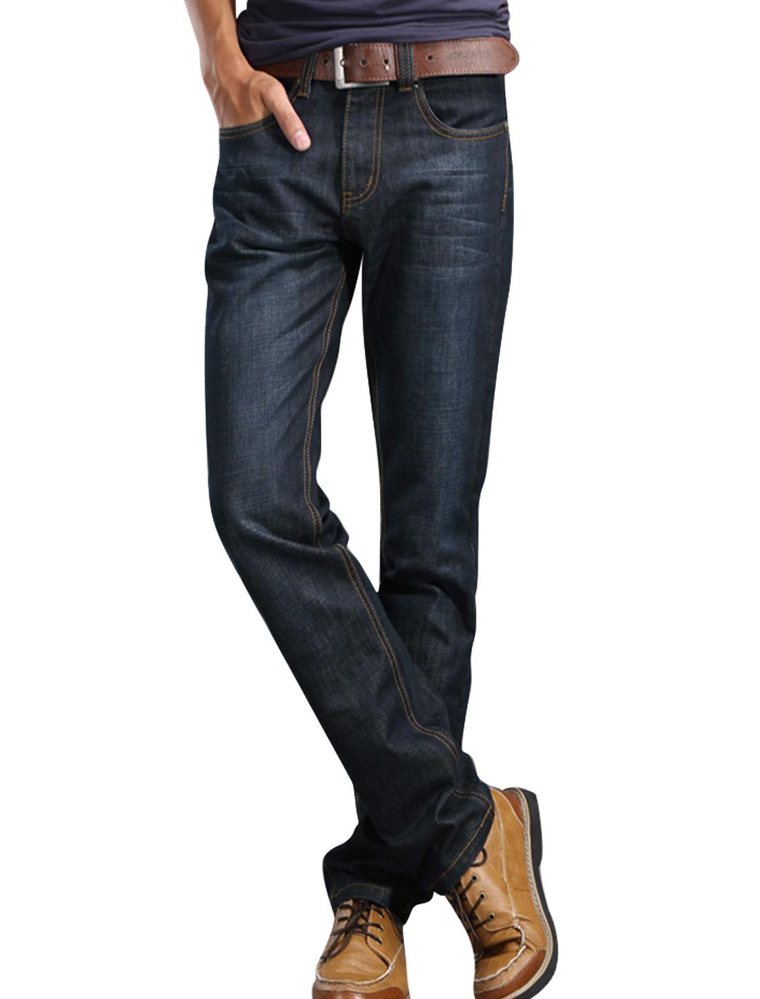 Men Black Mid Waist Zipper Closure Belt Loop Button Down Hip Pockets Jeans W32