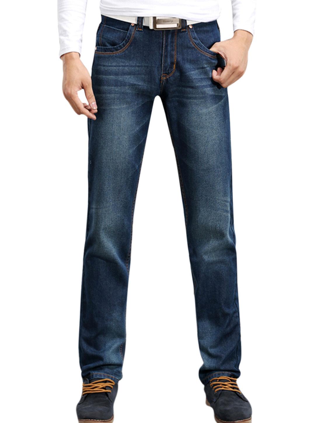 Men Navy Blue Mid Waist Zip Down Button Closure Hip Pockets Straight Jeans W34