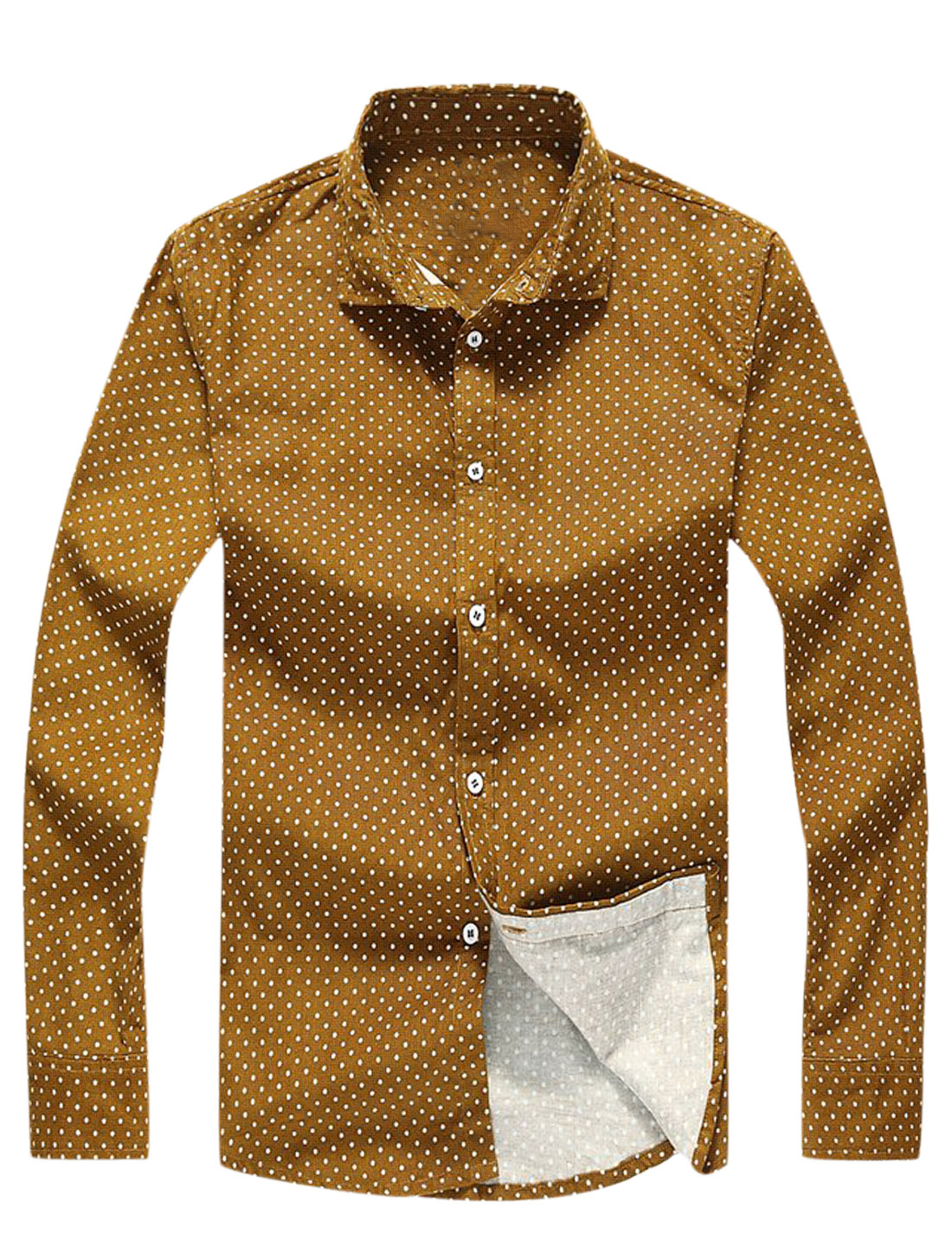 Single Breasted Dots Prints Casual Shirts for Men Ochre S