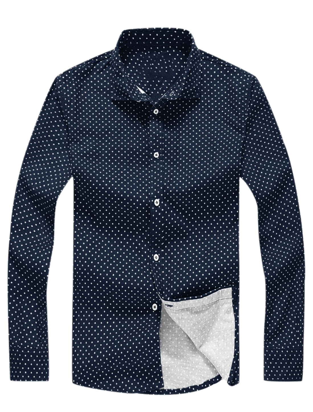 Button Closure Dots Prints Casual Shirts for Men Navy Blue S