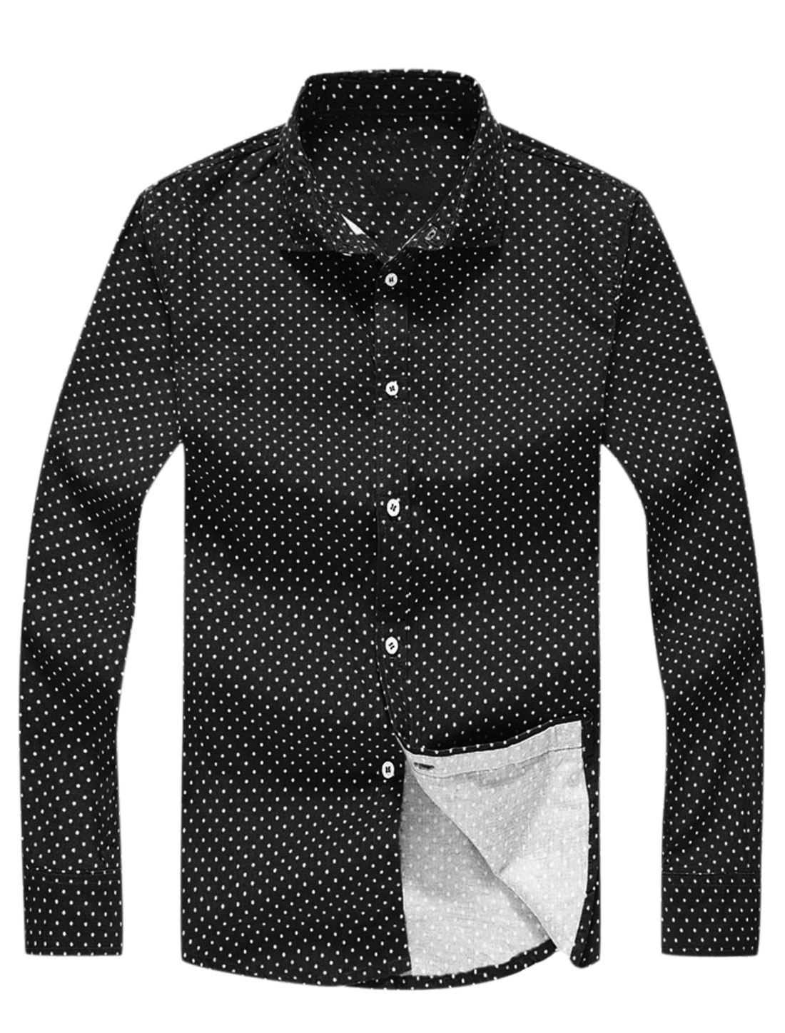 Point Collar Dots Prints Casual Shirts for Men Black S