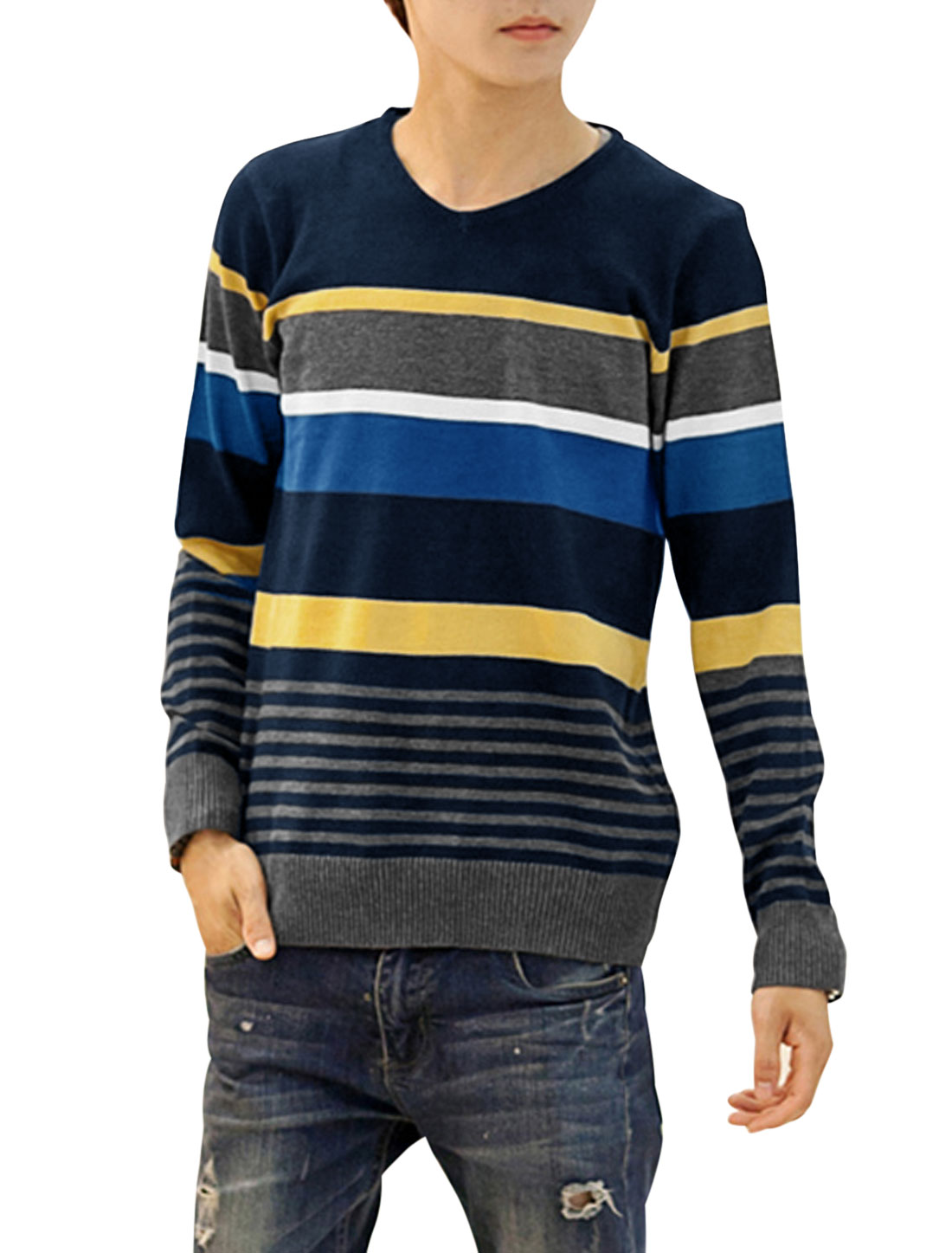 V Neck Color Blocking Pullover Casual Knit Top for Men Navy Blue Dark Gray S