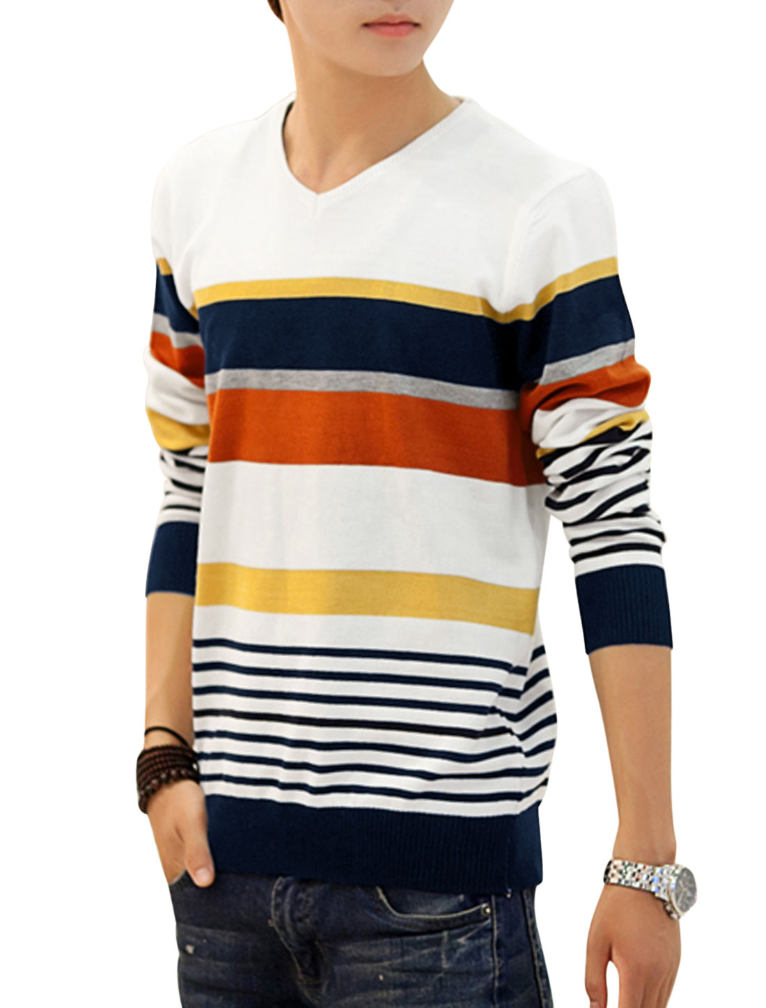 V Neck Long Sleeves Fashion Knit Tops for Men White Navy Blue S