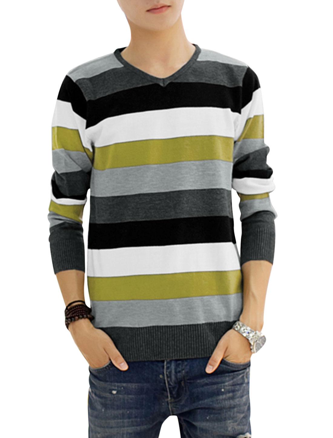Long Sleeves Bar Striped Slipover Knit Shirt for Men Dark Gray White S