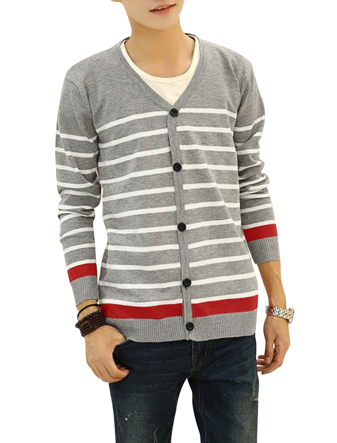 V Neck Horizontal Stripes Casual Knit Cardigan for Men Light Gray S