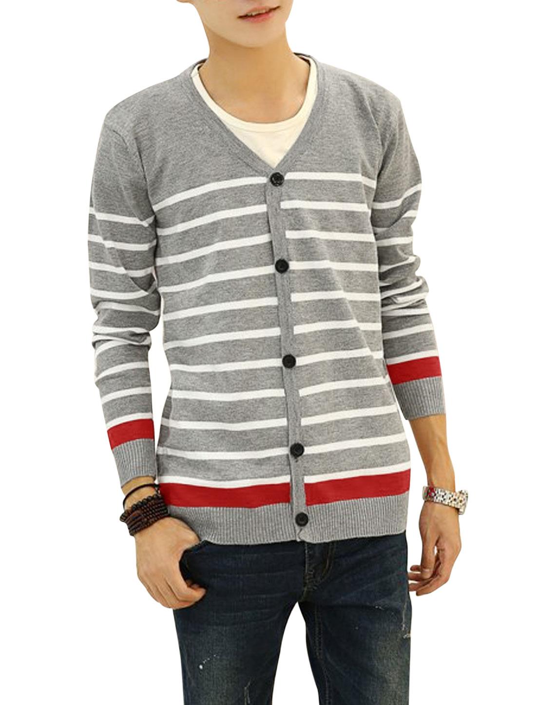 V Neck Horizontal Stripes Casual Knit Cardigan for Men Light Gray S