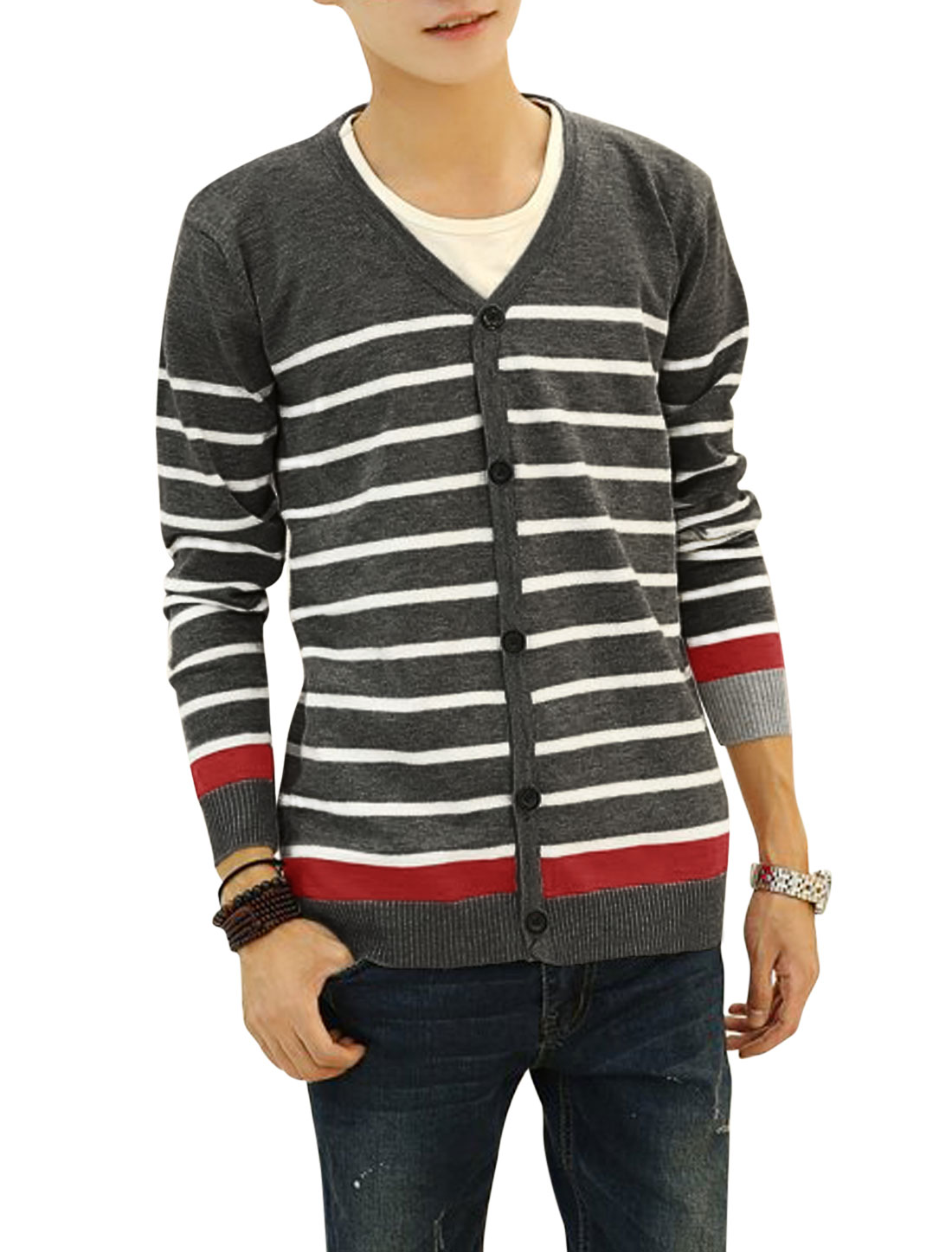 Button Closed Long Sleeves Leisure Knitted Cardigan for Men Dark Gray S