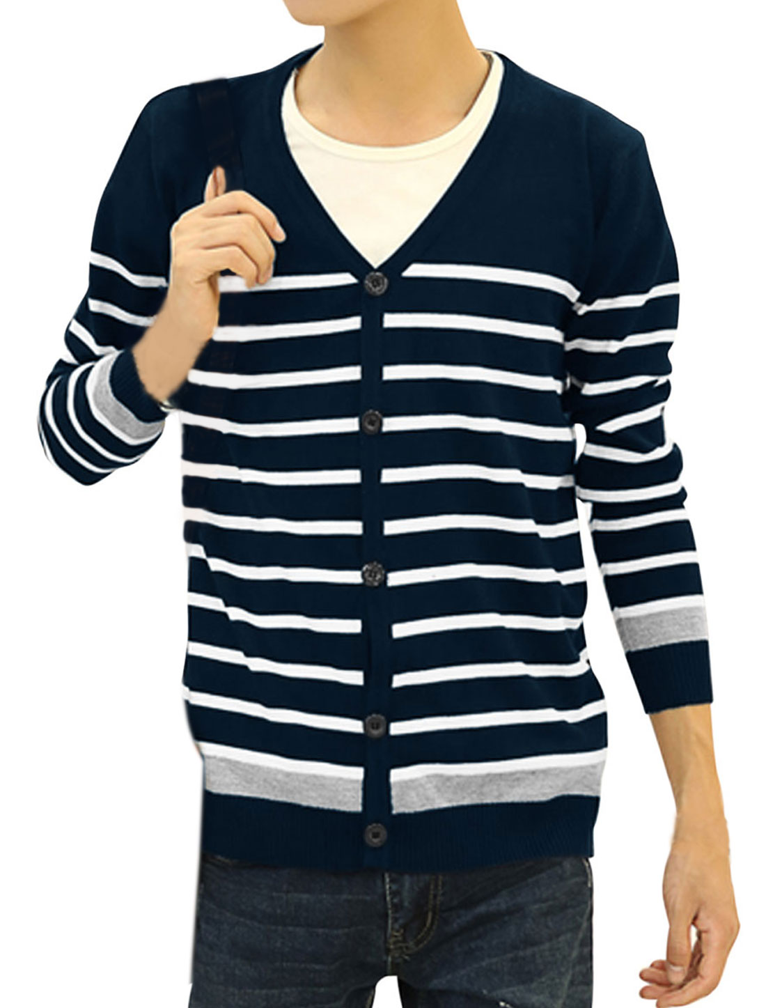 Long Sleeves Bar Striped Casual Knit Cardigan for Men Navy Blue S