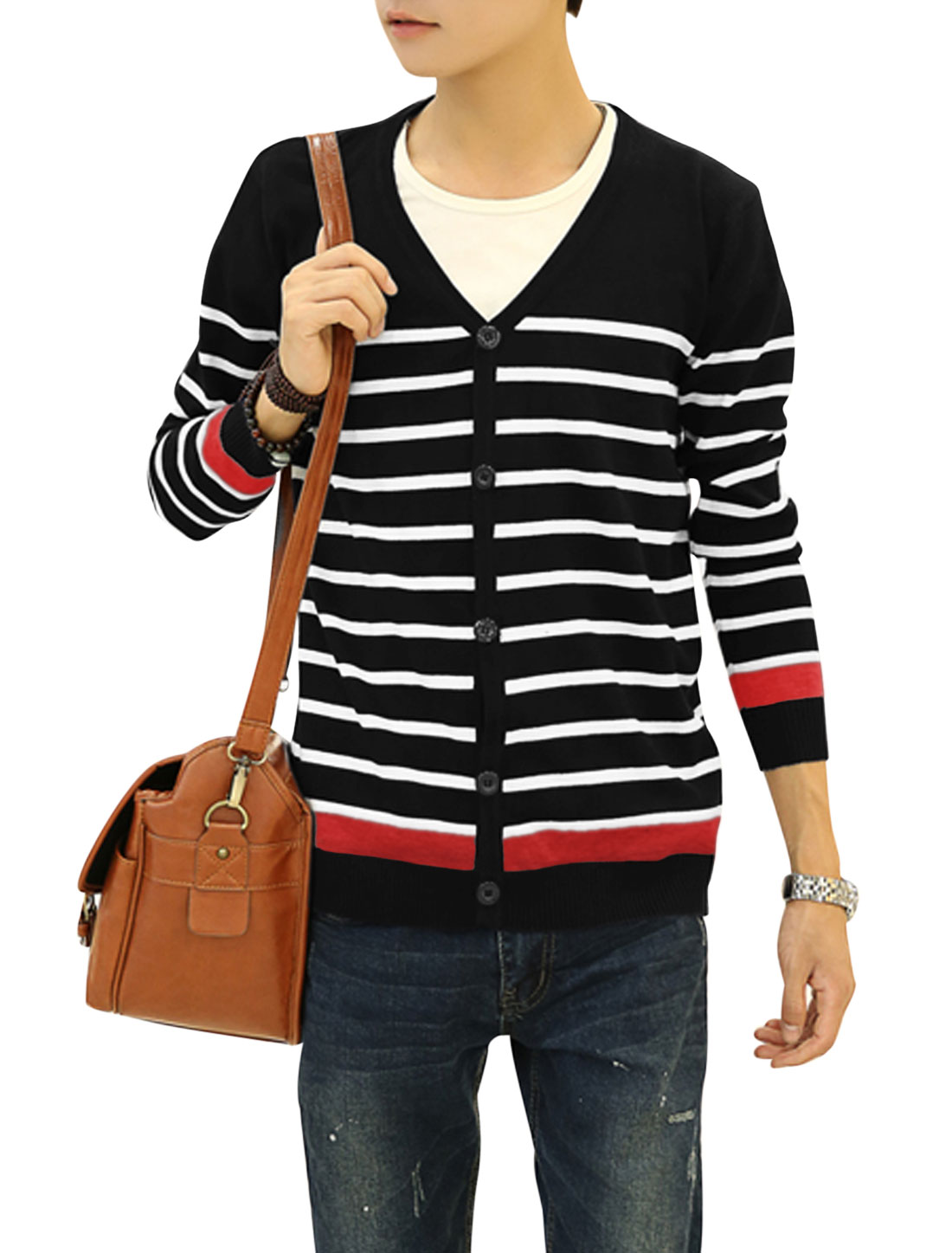 Button Down Stripes Leisure Knit Cardigan for Men Black S
