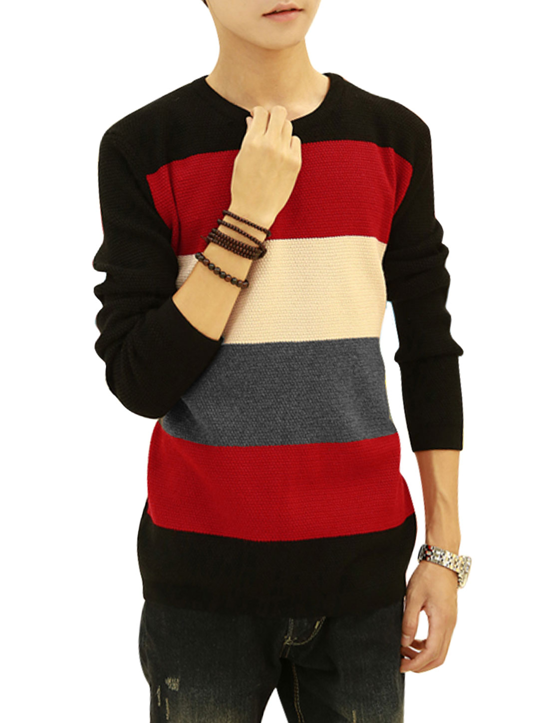 Men Black Red Slipover Color Block Slim Fit Knit Shirt S