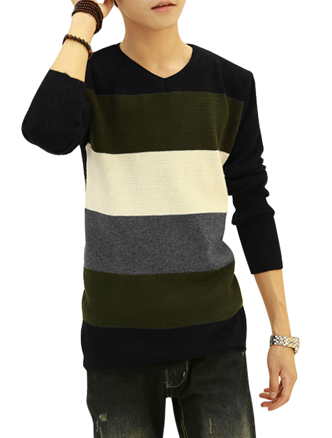 Men Army Green Black Pullover Color Block Slim Fit Long Sleeves Knit Shirt S
