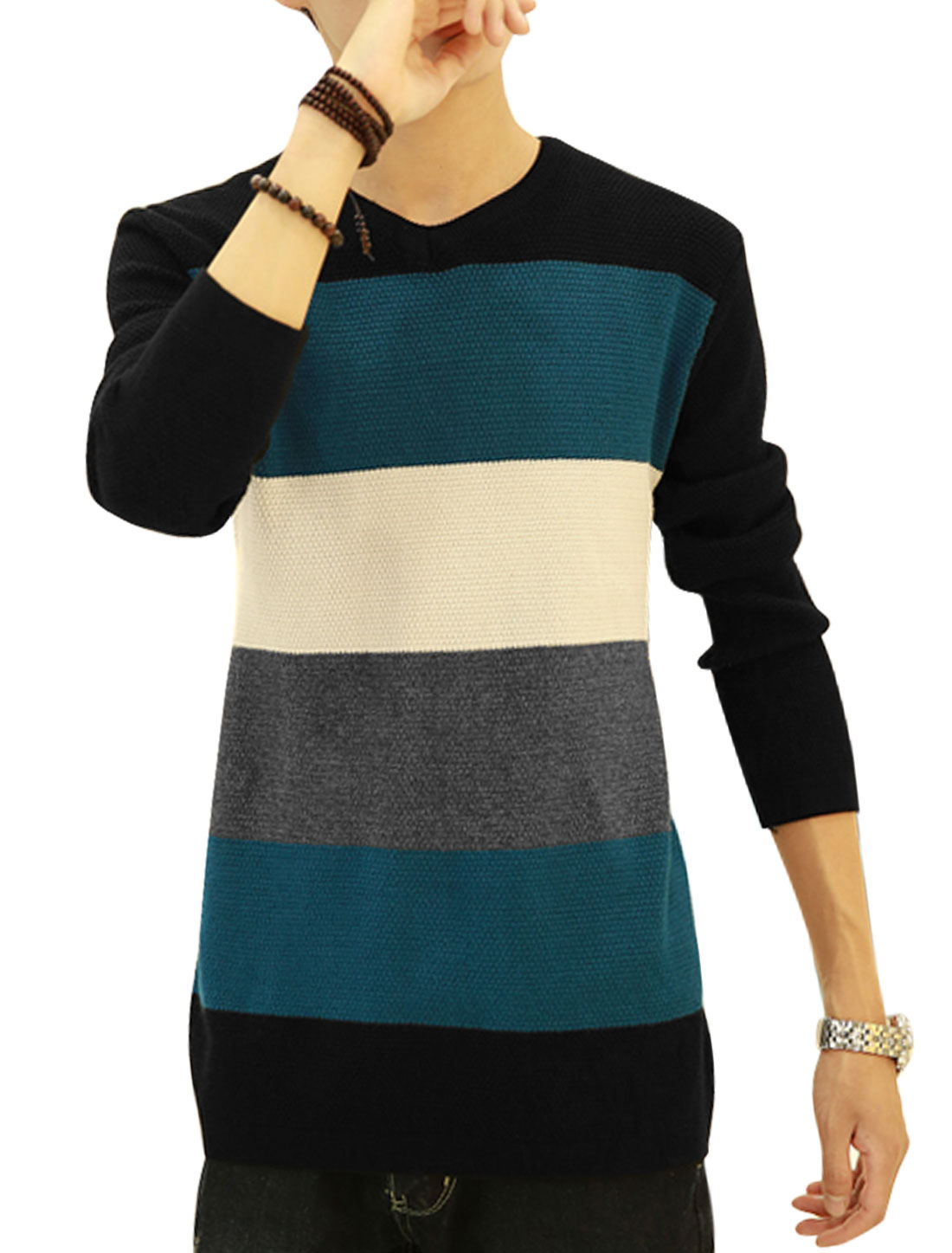 Men Royal Blue Black Slipover Color Block Slim Fit Round Neck Knit Shirt S