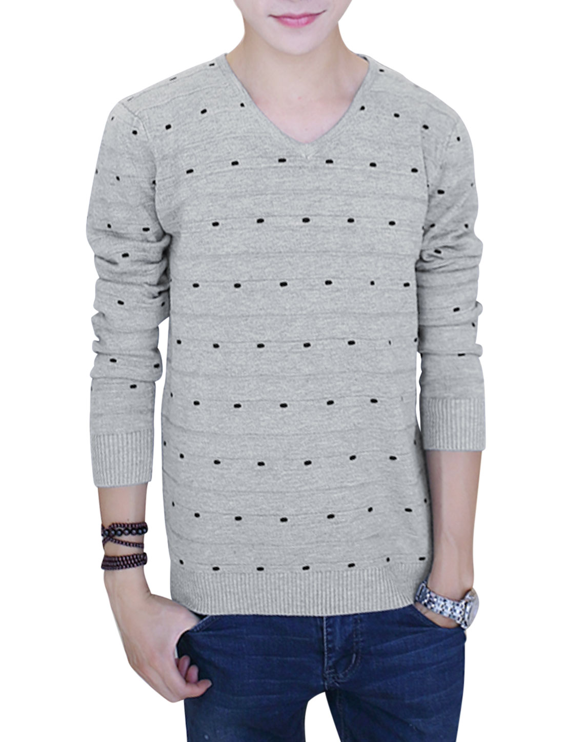 V Neck Dots Pattern Leisure Knitted Tops for Men Lihgt Gray S
