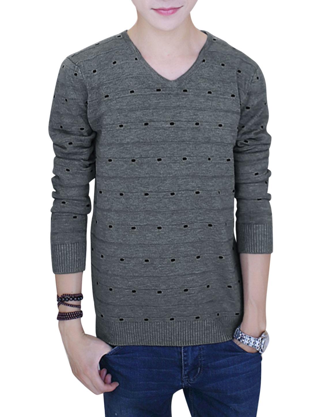 V Neckline Long Sleeves Leisure Knit Tops for Men Dark Gray S