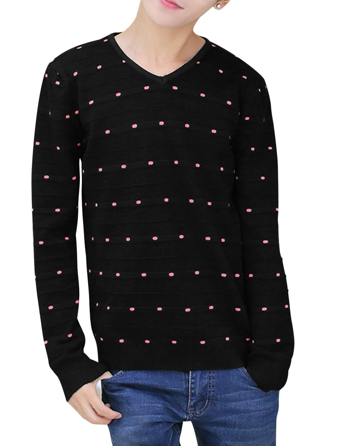 V Neck Long Sleeves Casual Knit Shirt for Men Black S