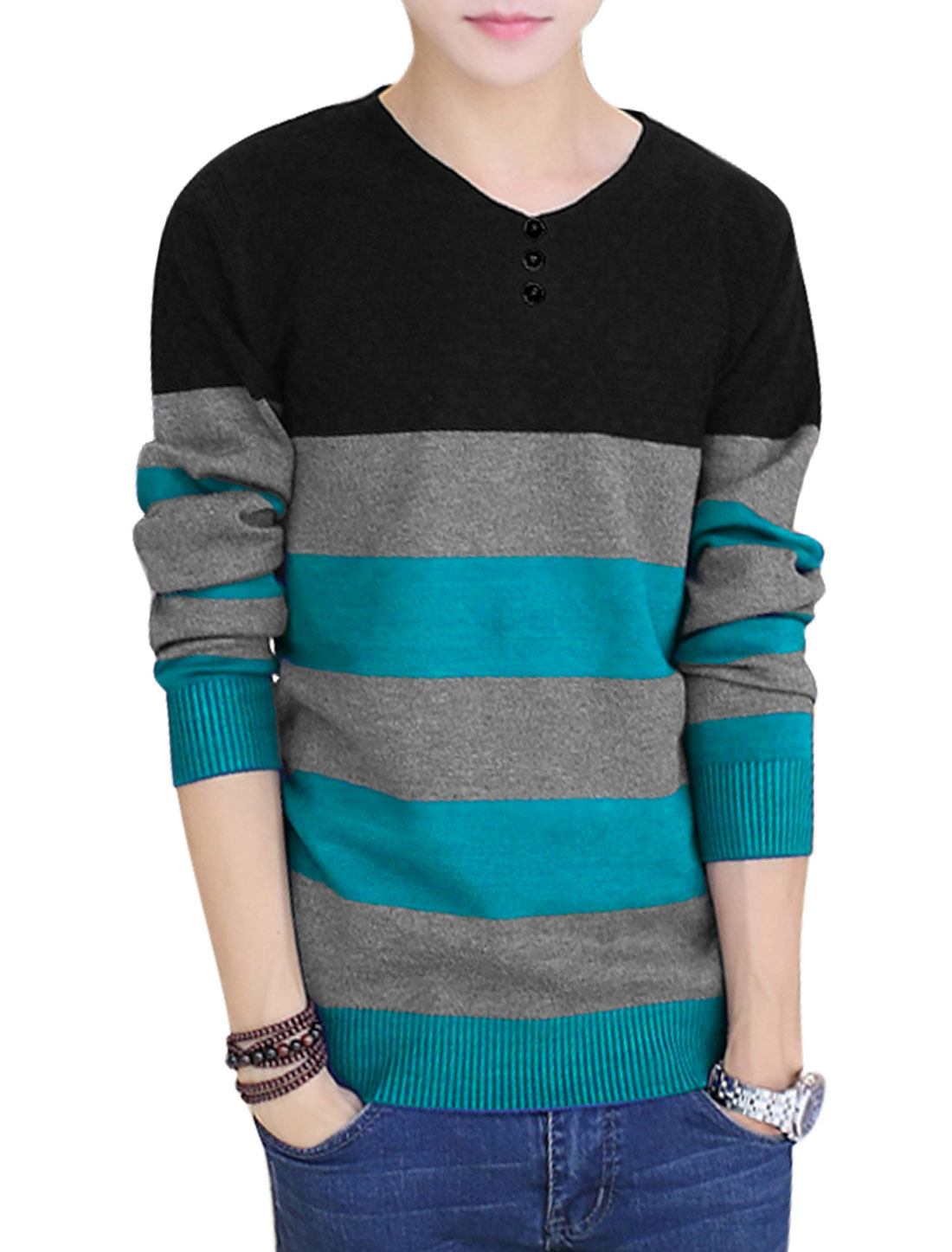 Men Black Royal Blue Pullover Color Block Weaven Decor Ribbed Cuffs Knit Shirt S