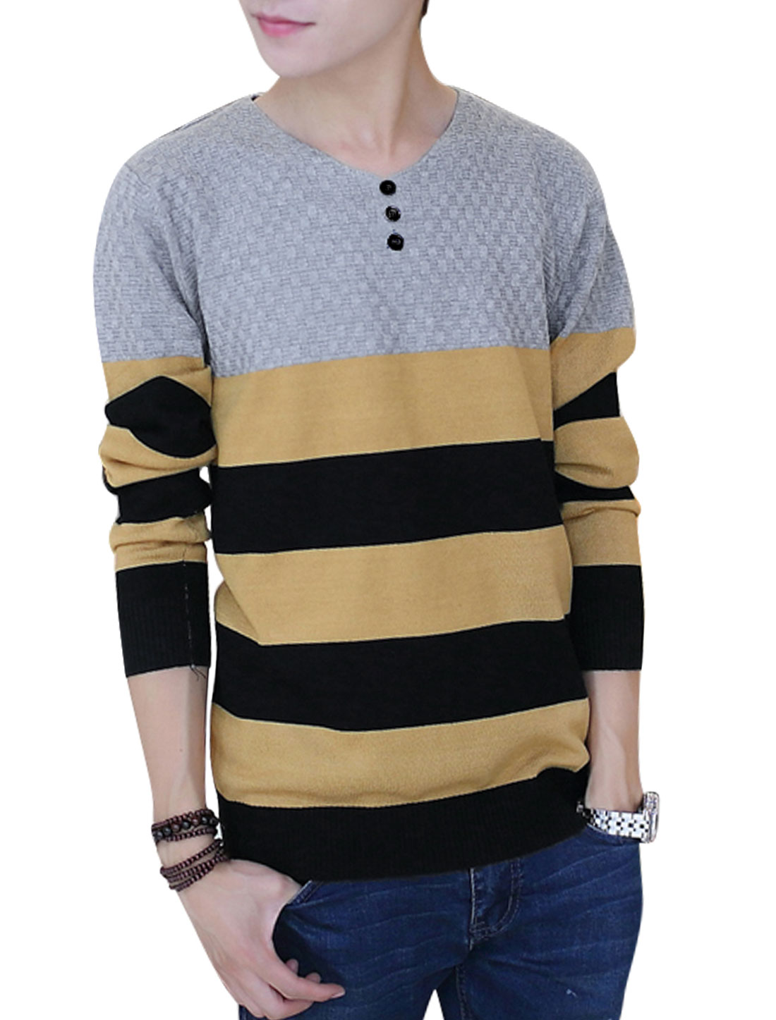 Men Gray Black Pullover Color Block Weaven Decor Round Neck Casaul Knit Shirt S