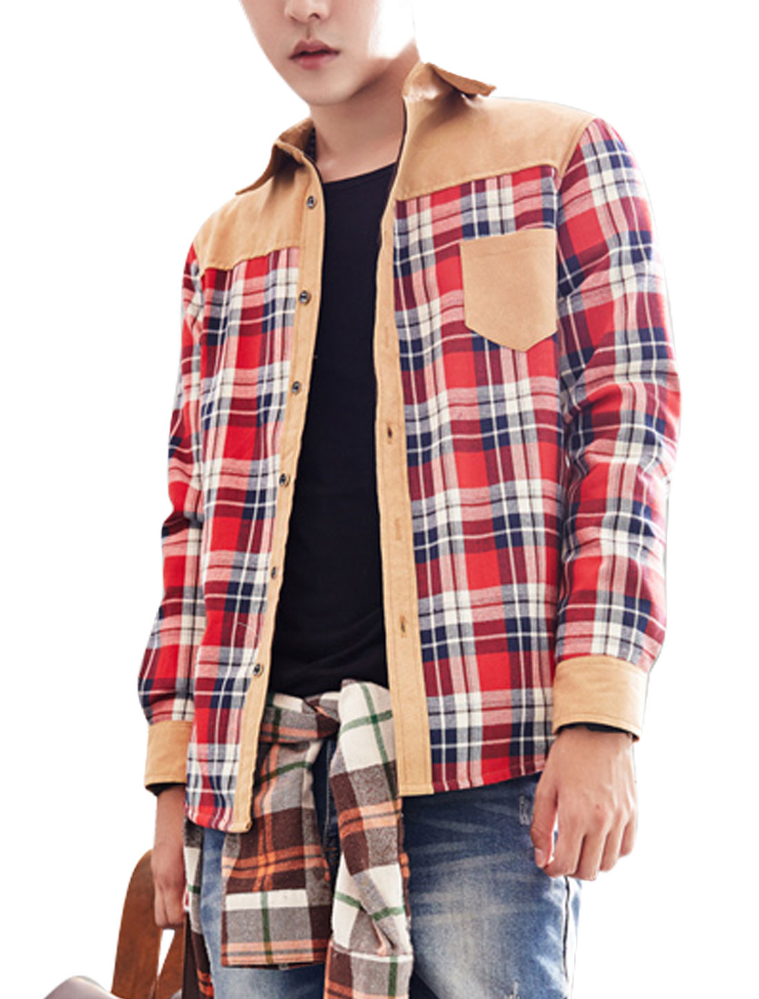 Men Red Khaki Single Breasted Checks Prints Lining Button Cuffs Casual Shirt M