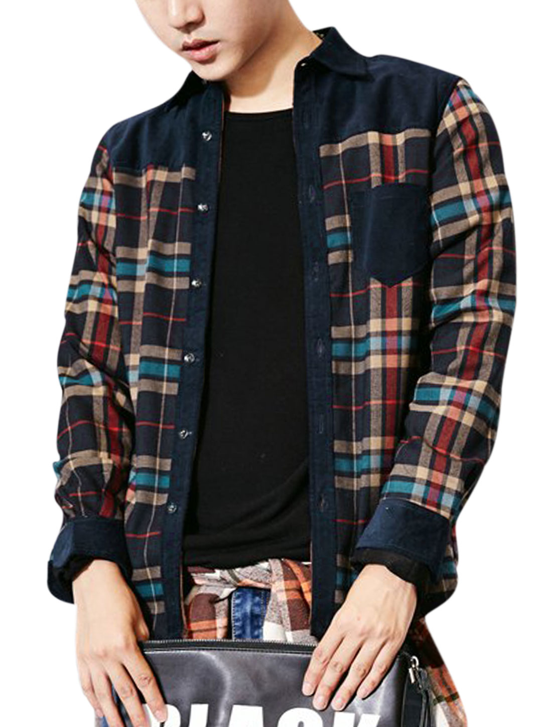 Men Navy Blue Checks Prints Single Breasted Contrast Color Lining Shirt M