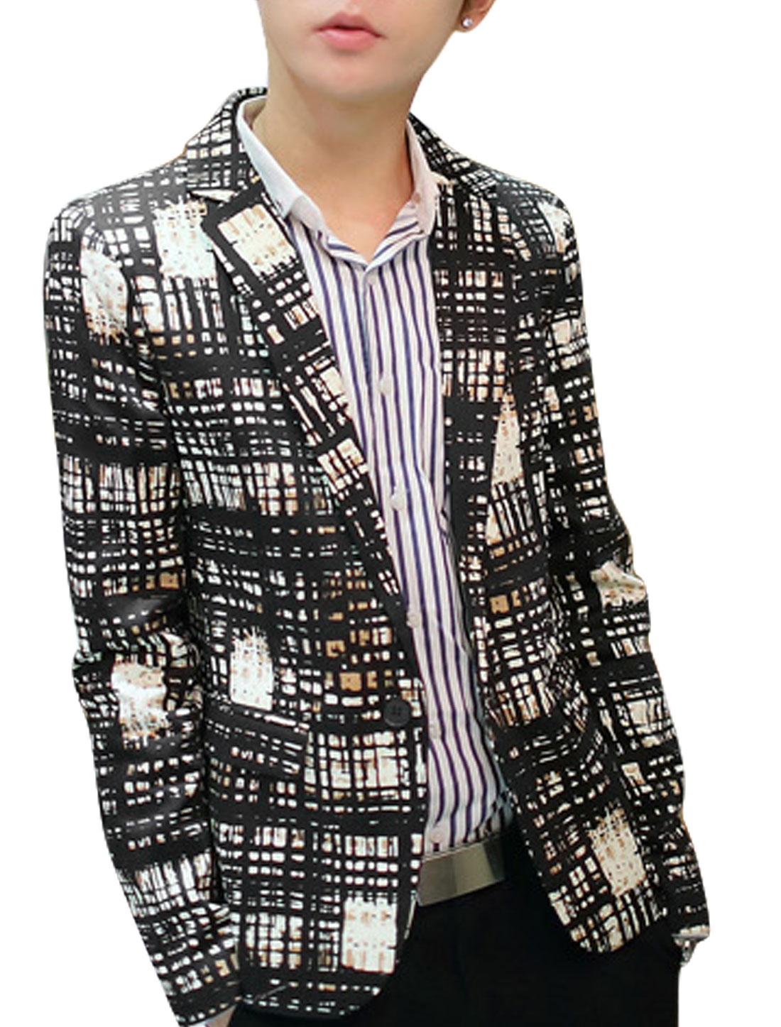 Men Black Plaids Pattern Single Breasted Front Pockets Blazer Jacket M