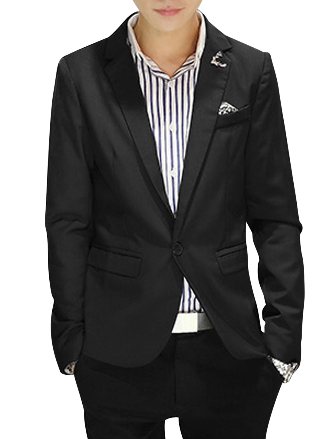Notched Lapel Two Flap Pockets Casual Blazer for Men Black M