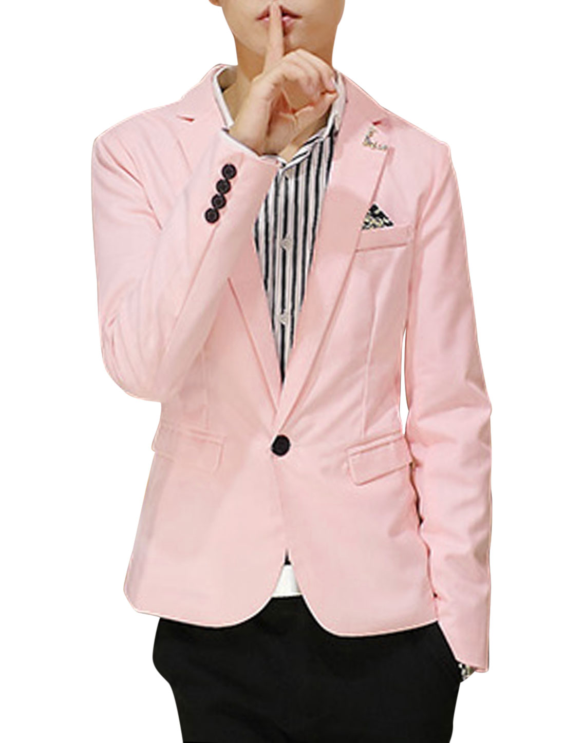 Long Sleeves Double Flap Pockets Front NEW Blazer for Men Pink M