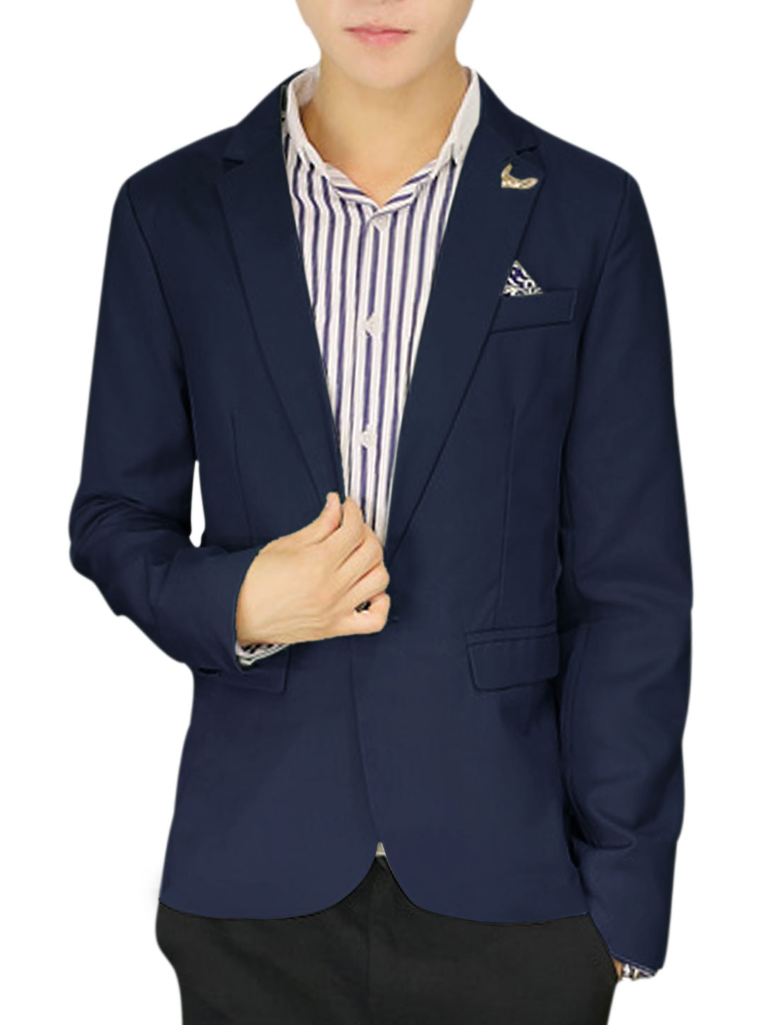 Men One Button Notched Lapel Leisure Blazer Navy Blue M