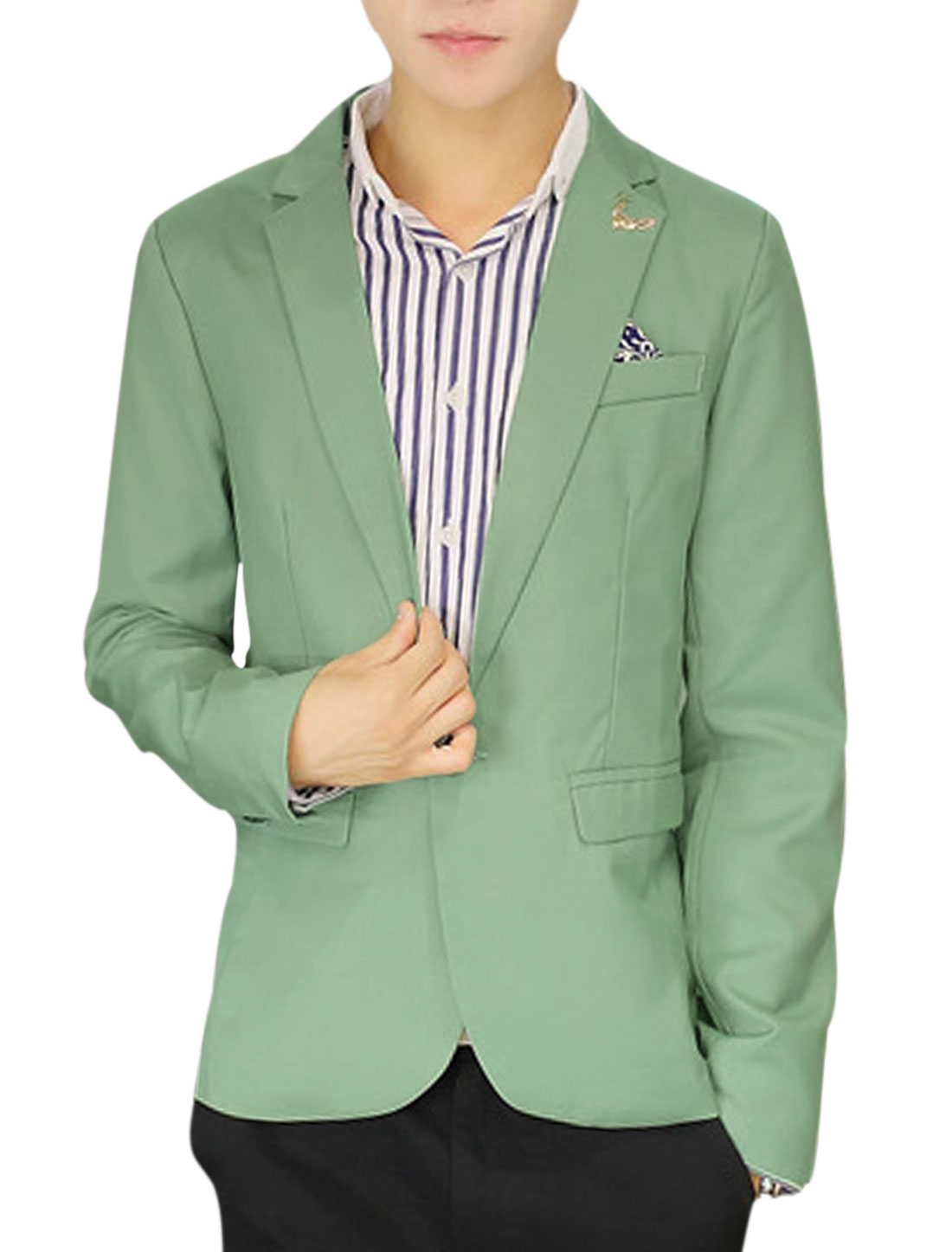 Men One Button Closed Split Back Leisure Blazer Light Green M