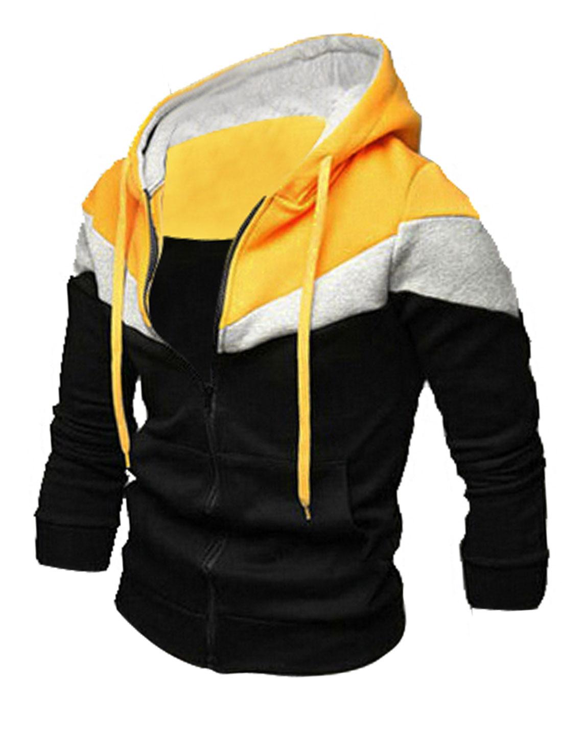 Men Black Zipper Closure Front Pockets Color Block Slim Fit Hoodie Jacket M