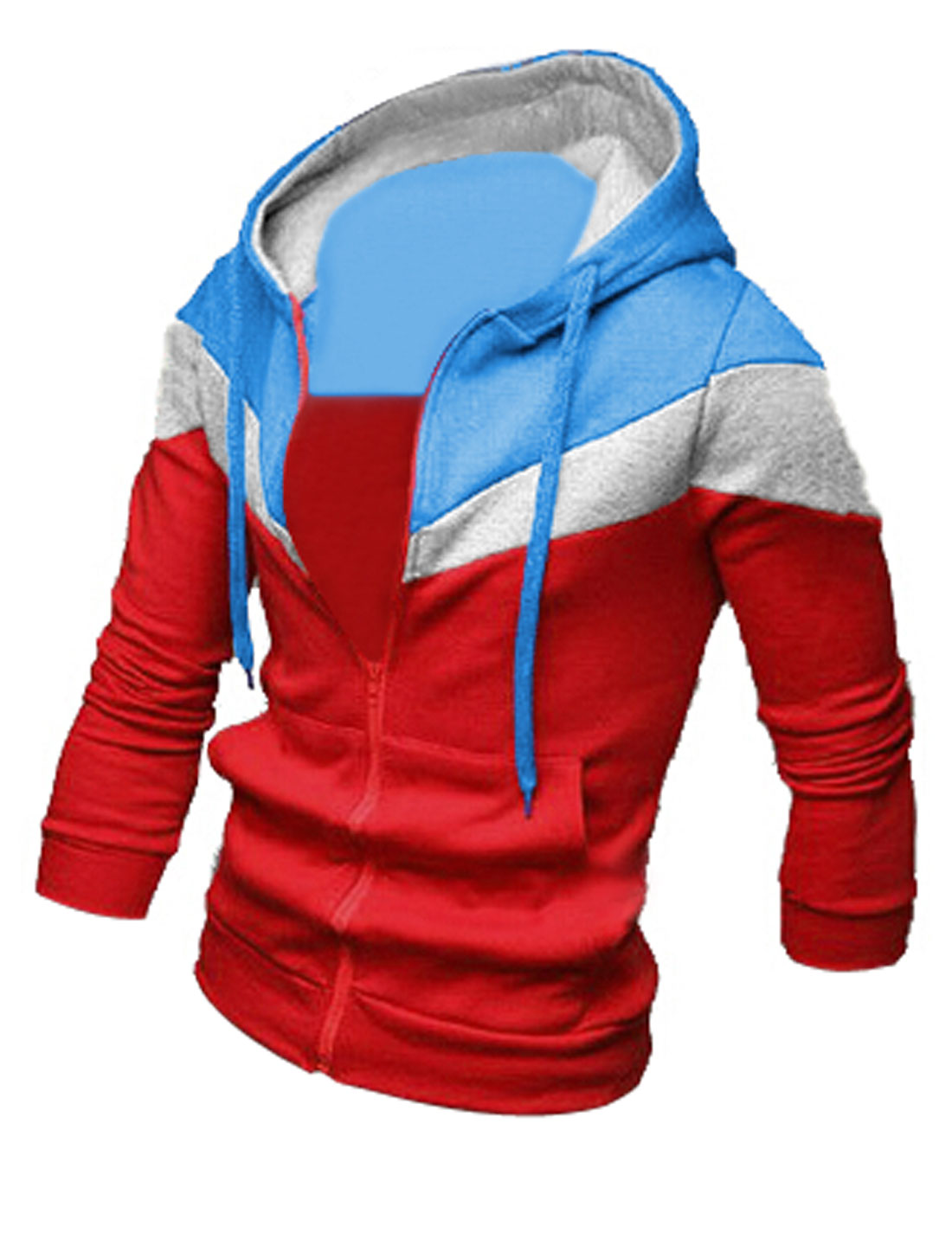 Men Red Zip Down Front Pockets Color Block Leisure Hoodie Jacket M