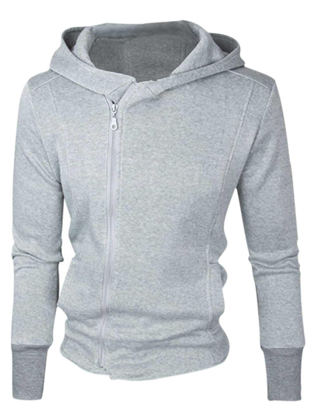 Men Light Gray Zip Fly Front Pockets Ribbed Cuffs Long Sleeves Hoodie Jacket M