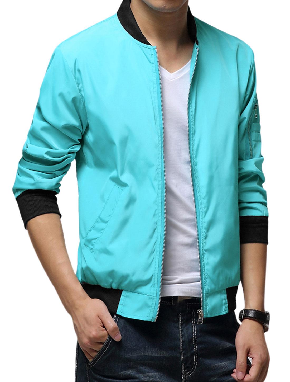 Men Aqua Zipper Front Slant Pockets Ribbed Trim Casual Jacket S