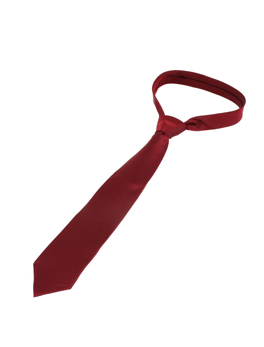 Men Twill Stripes Design Polyester Self Tie Adjustable Neckwear Necktie Red