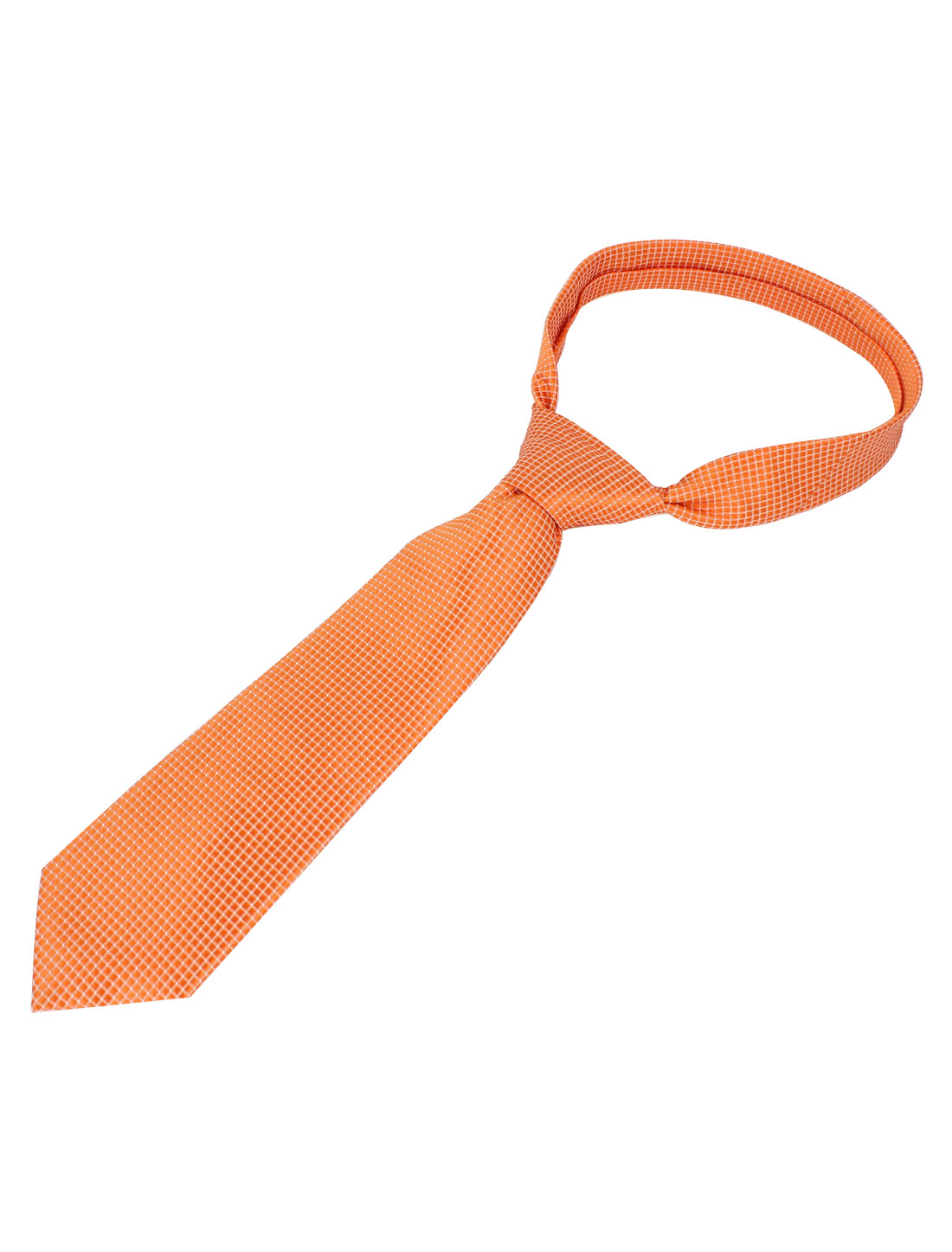 Men Grid Pattern Polyester Self Tie Adjustable Neckwear Necktie Orange