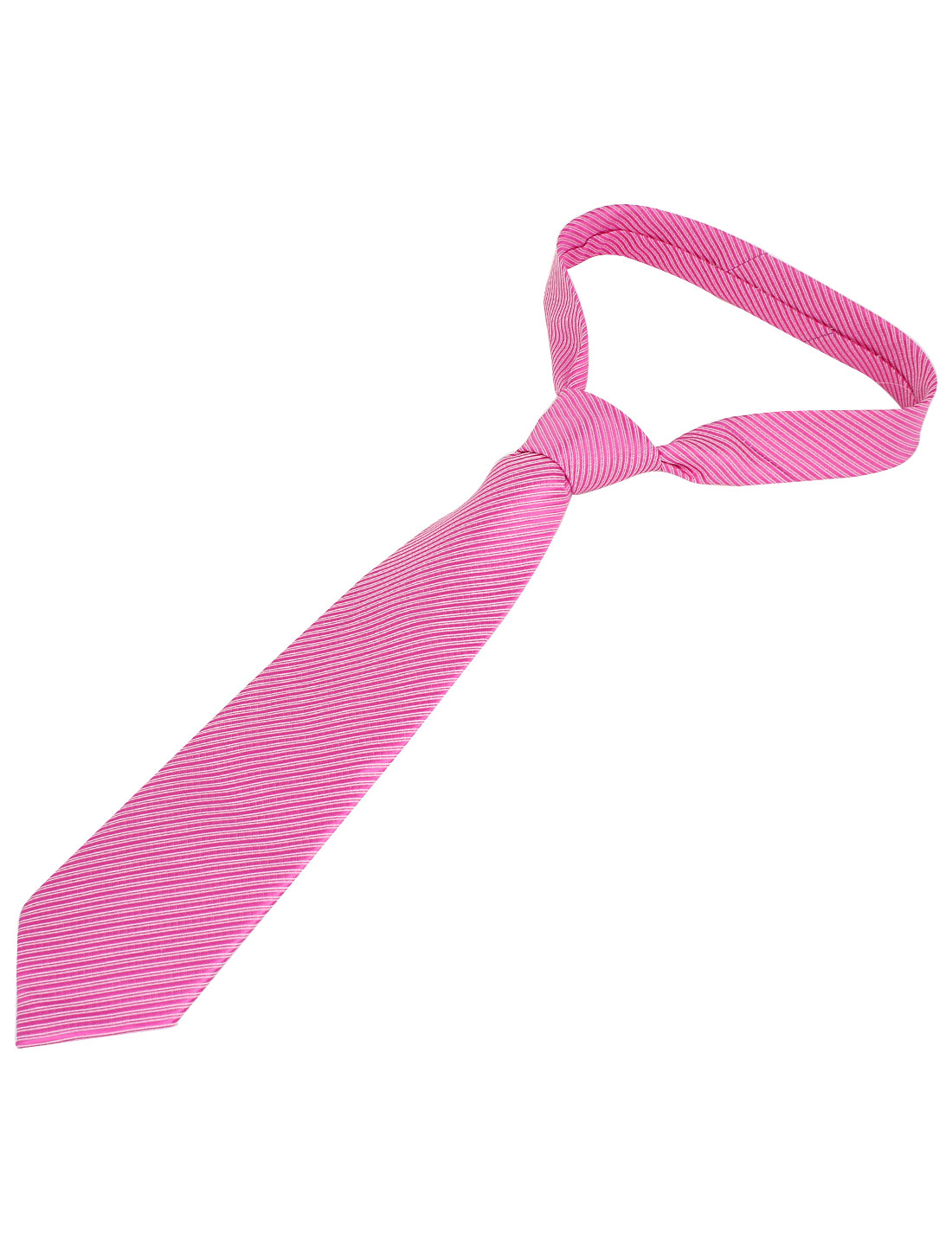 Men Twill Stripes Pattern Polyester Self Tie Adjustable Neckwear Necktie Pink