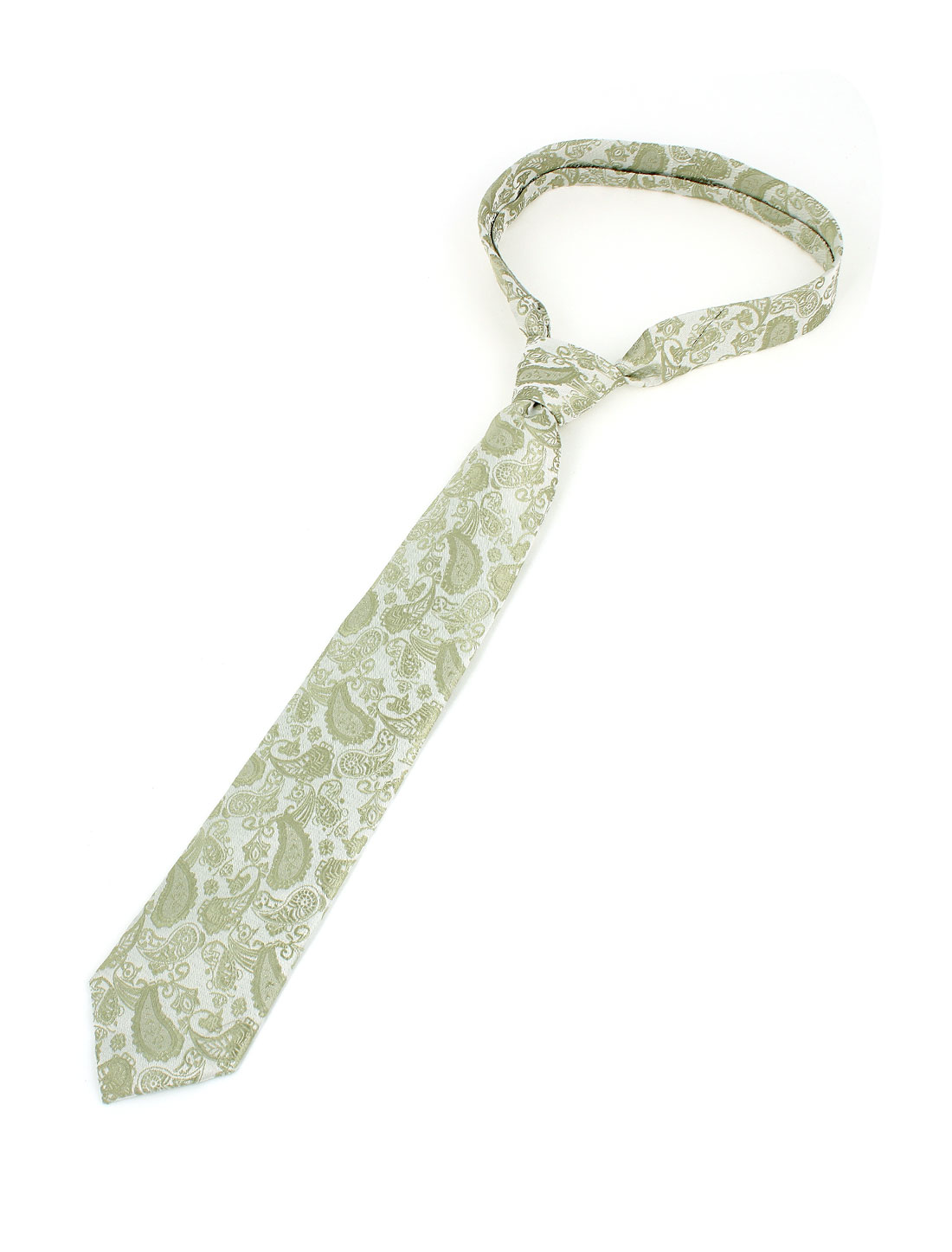 Men Paisley Pattern Polyester Self Tie Adjustable Neckwear Necktie Green