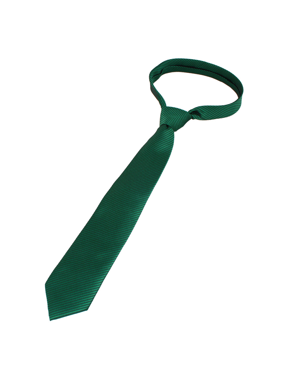 Men Twill Stripes Pattern Polyester Self Tie Adjustable Neckwear Necktie Green