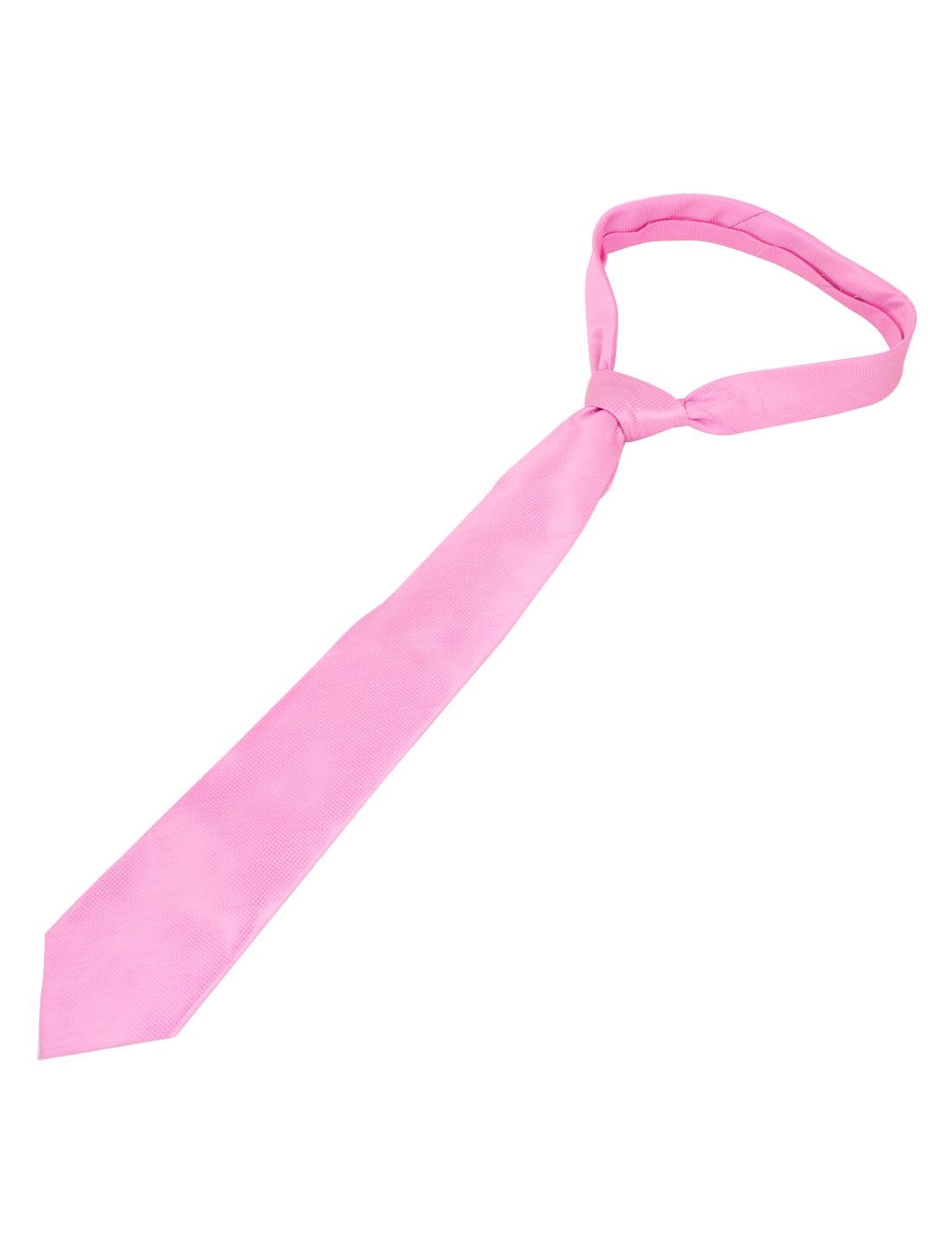 Man Checked Design Polyester Self Tie Adjustable Neckwear Necktie Light Pink