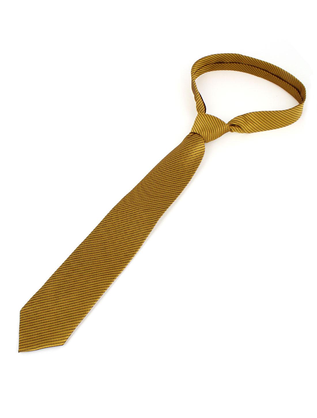 Men Twill Stripes Pattern Polyester Self Tie Adjustable Neckwear Necktie Gold Tone
