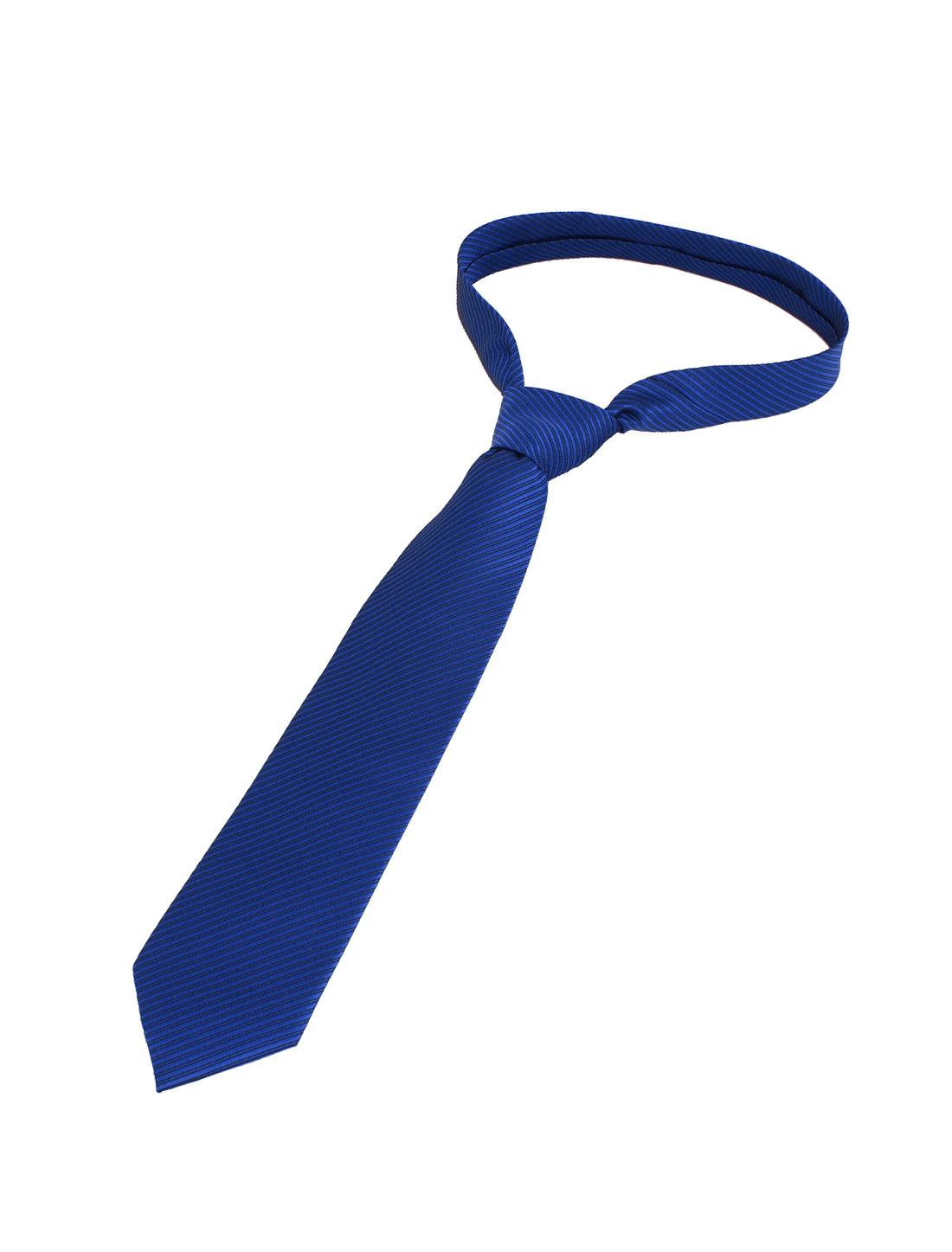 Men Twill Stripes Pattern Polyester Self Tie Adjustable Neckwear Necktie Blue