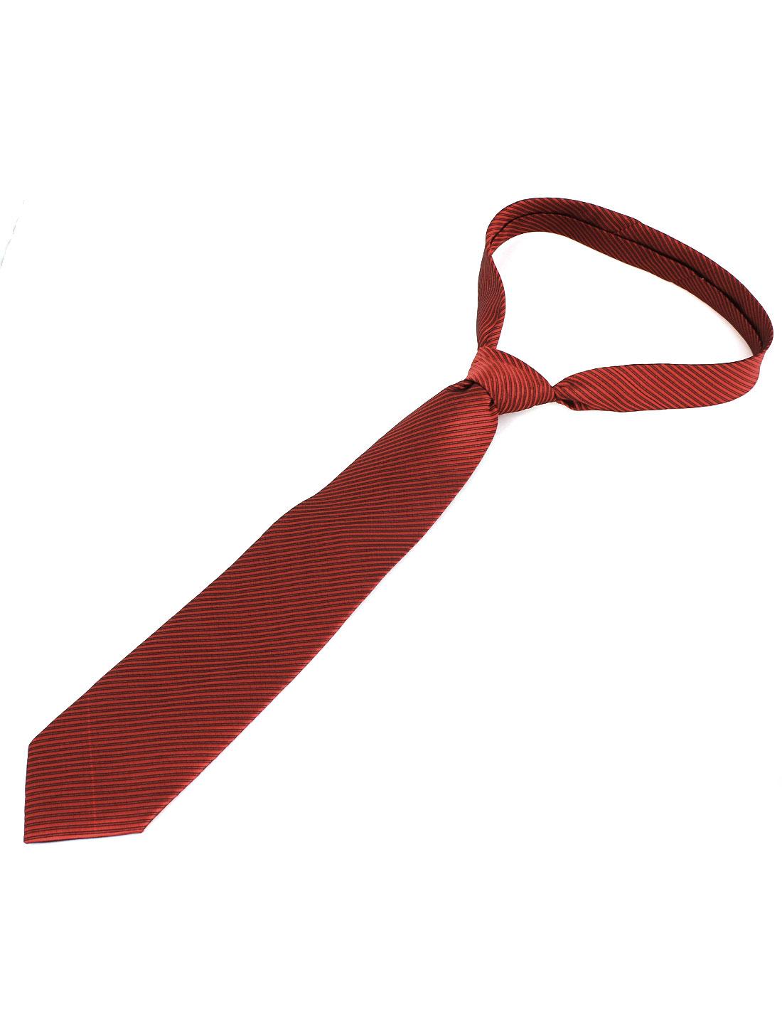 Men Twill Stripes Pattern Polyester Self Tie Adjustable Neckwear Necktie Red