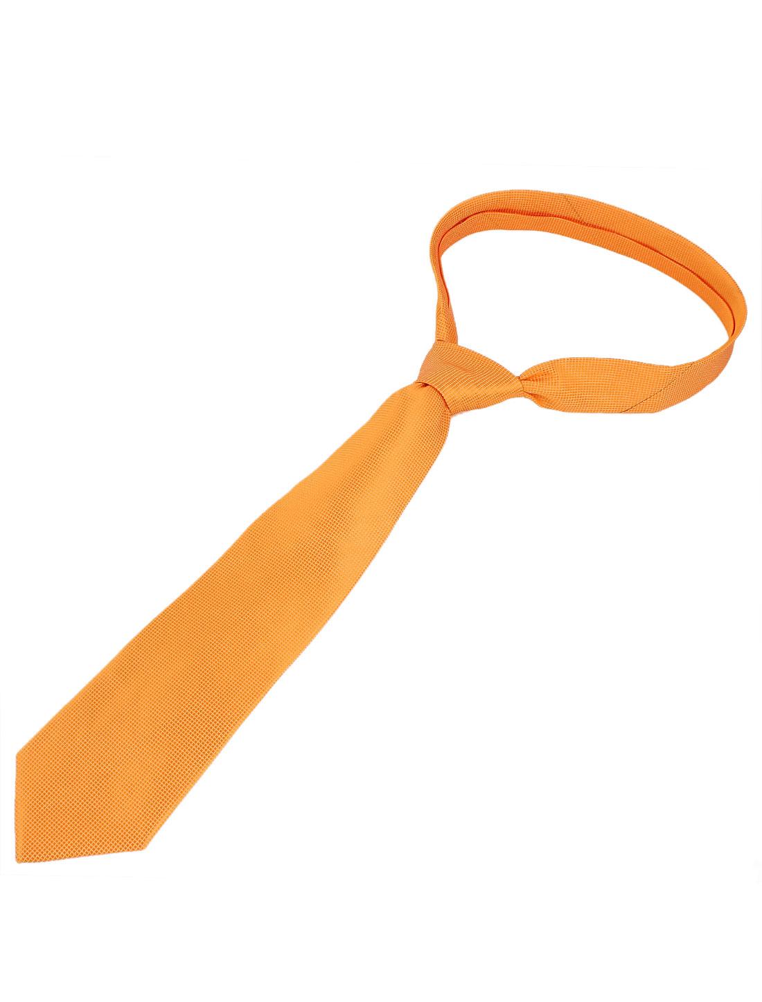 Men Checked Pattern Polyester Self Tie Adjustable Neckwear Necktie Orange
