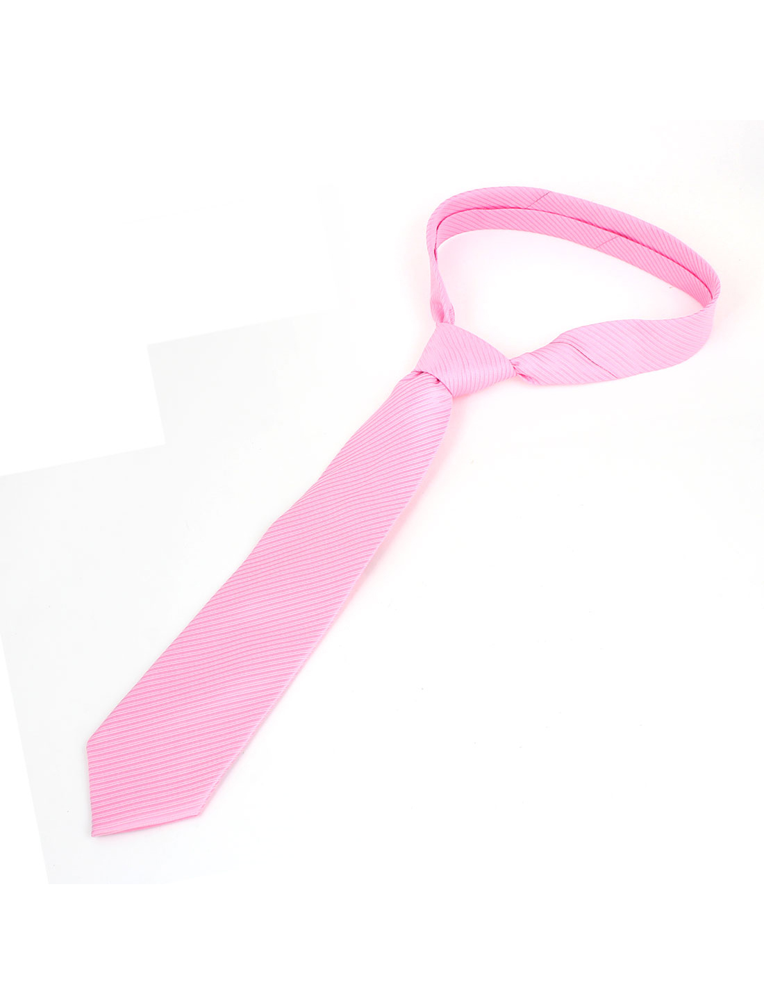Men Twill Stripes Design Polyester Self Tie Adjustable Neckwear Necktie Light Pink