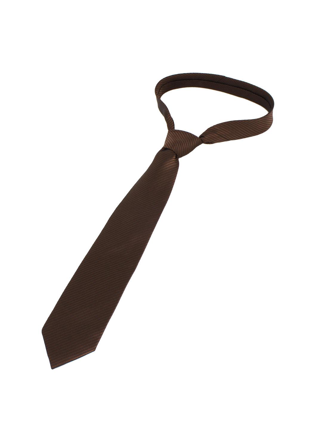 Men Twill Stripes Pattern Polyester Self Tie Adjustable Neckwear Necktie Coffee Color