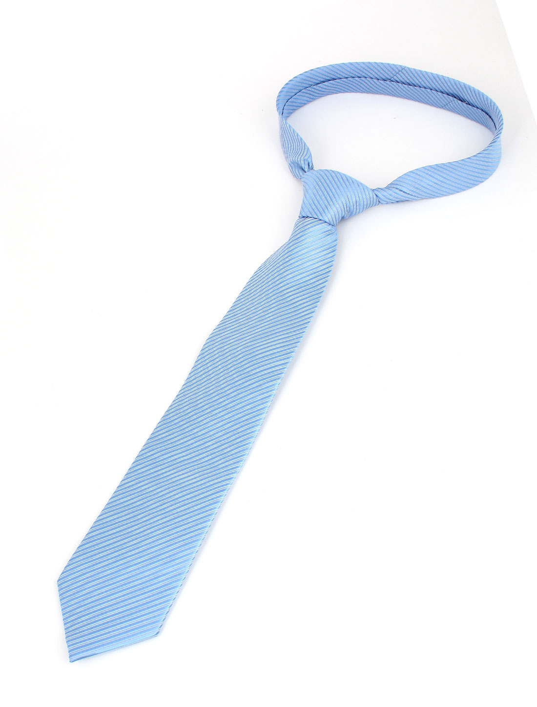 Men Twill Stripes Design Polyester Self Tie Adjustable Neckwear Necktie Light Blue